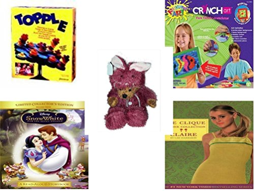 [Girl's Gift Bundle - Ages 6-12 [5 Piece] - Topple Game by Pressman Toy - Crunch Art Fun Fabric Creations Toy - Teddy Bear Plush In Purple Mouse Costume 12