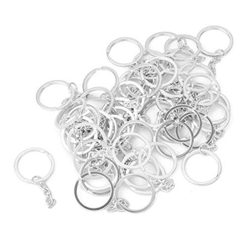 50pcs-anillo-de-llavero-aleacion-plateada-con-cadenas-artesania-25mm
