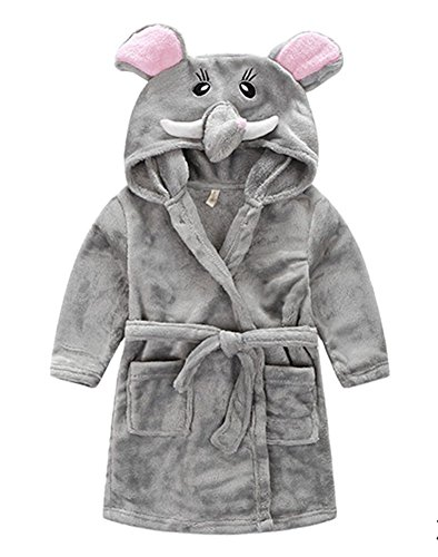 Taiycyxgan Little Girl's Coral Fleece Bathrobe Unisex Kids Robe Pajamas Sleepwear Grey Elephant 90