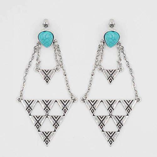 Modern Fantasy Square Shape Ancient Style Inverted Triangle Plated Earring