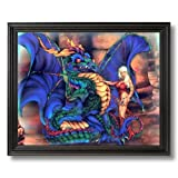 Dragon Magical Girl Kids Room Fantasy Home Decor Wall Picture Black Framed Art Print