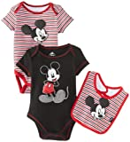 Disney Baby Baby-Boys Newborn Mickey 2 Pack Creeper Bib Layette- Black