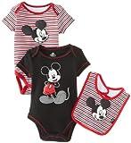 Disney Baby Baby-Boys Newborn Mickey 2 Pack Creeper Bib Layette- Black
