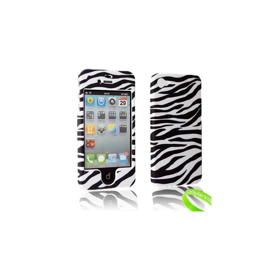 Cellularvilla Design Snap on Hard Case Cover Skin Protector for Apple Iphone 4 4G 4S (Black White Zebra)