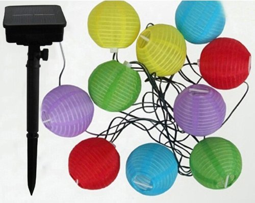 Samyo Solar Powered 10 Led Lantern Multicolor String Light Party Outdoor Patio Lawn Garden