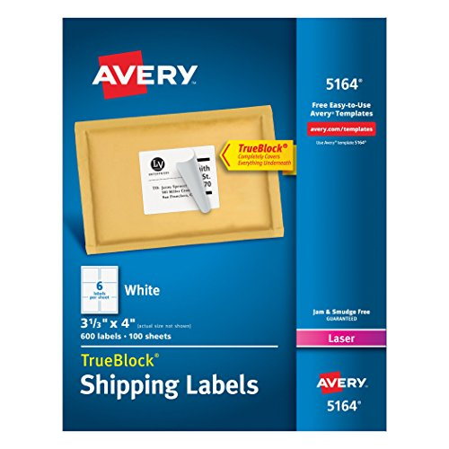 600-Labels 05164 4x3-1/3 White White Shipping F/ Lasers
