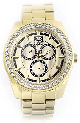 Marc Ecko orologio da uomo il legame multifunzione Crystal Accented tutti Oro tono acciaio inox e18513g1