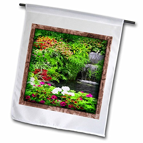 Susan Brown Designs Nature Themes - Flowers and Waterfall - 18 x 27 inch Garden Flag (fl_41283_2)