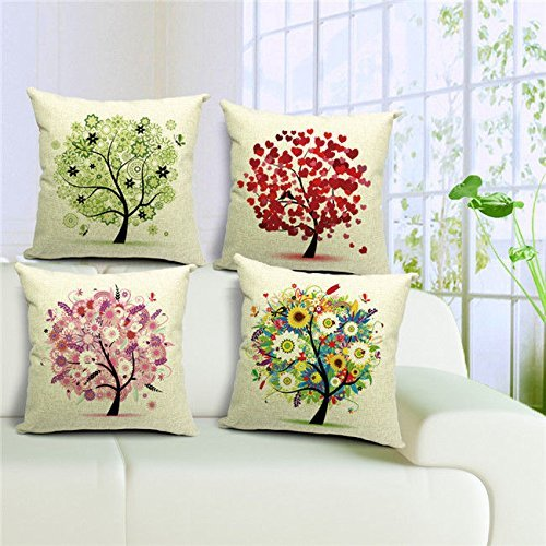 【Bailand】Set of 4 The modern Life Tree pillow cover,sofa cushion vehicle office pillowcase,Beige cotton linen Decorative pillow cases 18X18 inch (45X45CM)