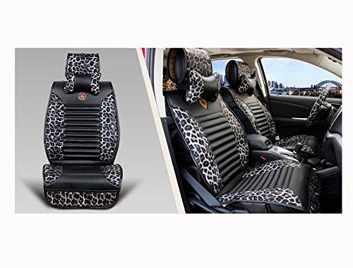 Universal Automotive Sexy Leopard Leather Seat Covers Accessories Set 11Pcs (Expedite Shipment) (Black Leopard1)