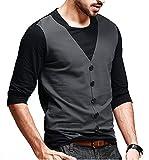 #7: Seven Rocks Men's Waist Coat Style Cotton Black Tshirt