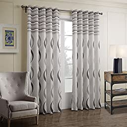 VIVOHOME Window Treatment Printed Thermal Insulated Curtain, Two Panels with Grommets, White with Gray Stripes (57.08Wx83.85L-Inch)