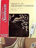 Sunbeam Velvet Plush Heated Throw, Brown with Print