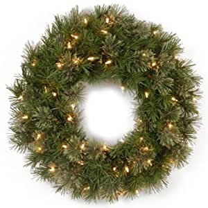 National Tree AT7-300-24W 24-Inch Atlanta Spruce Wreath with 50 Clear Lights