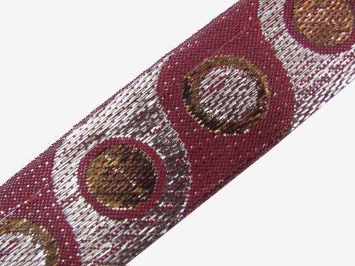 4.5 Yd Maroon Metallic Jacquard Ribbon Trim Sewing Lace Border