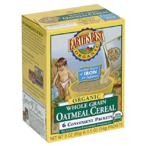 Earth's Best Organic Whole Grain Oatmeal Baby Cereal 3 Oz. Box 6 Convenient Packets