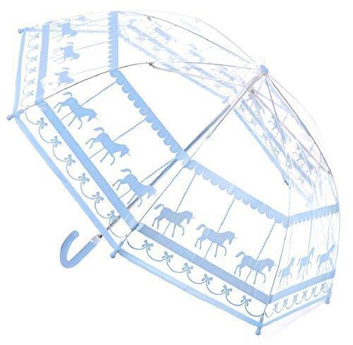 Enfants-Filles-Parapluie-Dme-Transparent-avec-Carousel-Licornes-Modle