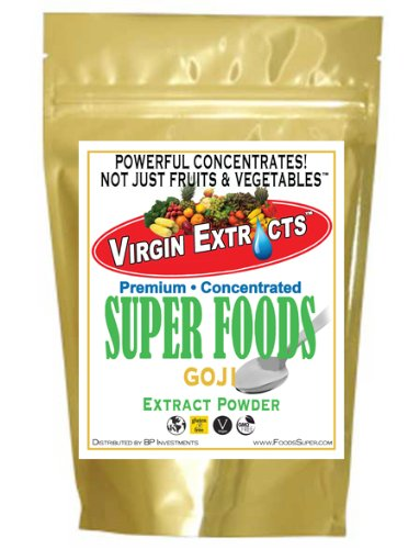 Virgin Extracts (TM) Pure Premium Freeze Dried Organic Goji Berry Powder 4:1 Concentrate Juice Extract Goji Powder (4 X Stronger) 16oz Pouch (Juice Berry compare prices)