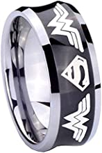 Tungsten Superman Wonder Woman Black Concave Two Tone Engraved Ring  5 8 10 MM  Size 4-15