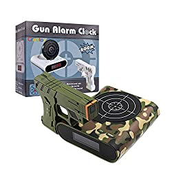 Target Alarm Clock With Gun, Infrared Laser and Realistic Sound Effects -Camouflage- By Creatov®