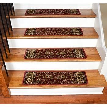 "Dean Premium Carpet Stair Treads - Classic Keshan Claret Red Rug Runners 31""W Set of 13"