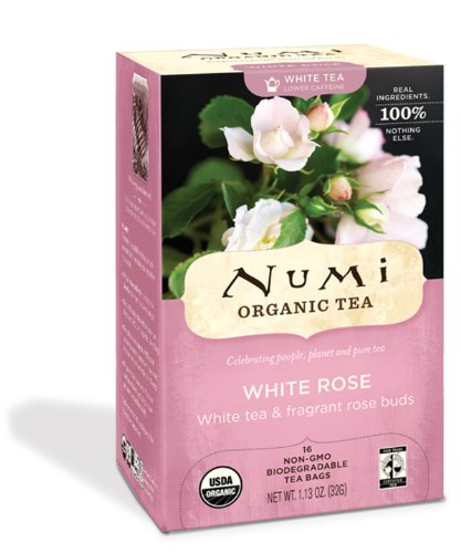Numi Organic Tea White Rose, Full Leaf White Tea, 16-Count Tea Bags (Pack of 3)