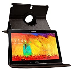 Galaxy Note 10.1 SM-P601 Case, Flip Cover 360 Degree Series PU Leather 360 Degree Rotating Flip cover With auto wake sleep (Brown)