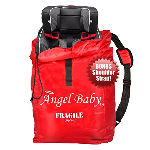 Angel Baby Car Seat Travel Bag Cover - DURABLE Polyester with SHOULDER STRAP, Water Resistant, Lightweight - Great for Airport Gate Check and Storage - Fits Carseats, Booster & Infant Carriers (Car Seat Strap Covers For Infants compare prices)