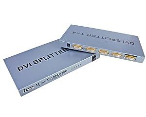 DTECH 4 Way DVI Video Splitter Box Distribution Amplifier 1 in 4 out Splits 1 Video Signal into Multi Monitors Supports Cascade Connection (Tamaño: 4 Port DVI splitter)
