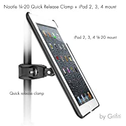 Grifiti Nootle Quick Release Pipe Clamp and Ipad Mount (2 3 4) Retrofits Tripods Microphone Stands Recording Stands Music Stands for Photographers and Musicians
