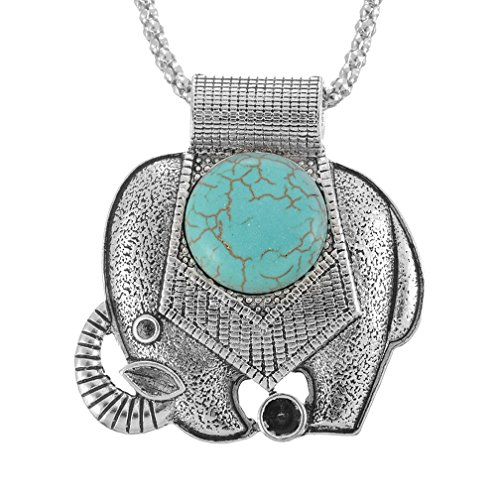 MJARTORIA Boho Halskette mit Elefant Anhänger Türkis Silberkette Glück 47.5cm