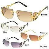 MLC Eyewear® 'Cassia' Rimless Rectangle Sunglasses - Pearl Dust Limited Edition