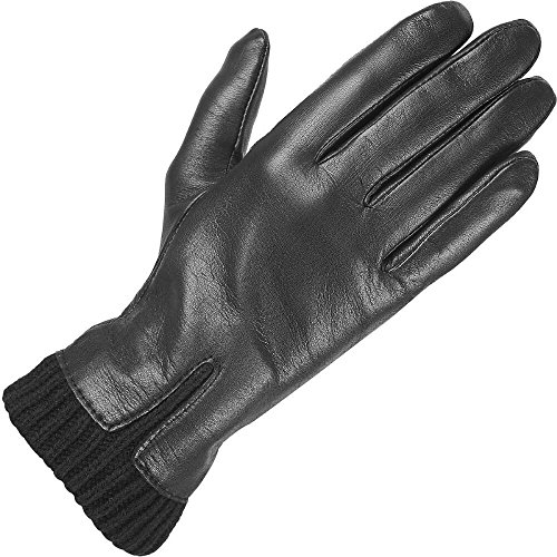Wilsons Leather Womens Knit Cuff Leather Glove W/ Fourchette M Black (Wilson Leather Cleaner compare prices)
