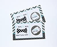 Bow Tie Scratch Off Game Set of 28 Little Man Activity Cards for Baby Shower Navy & Grey Chevron from Paper Clever Party