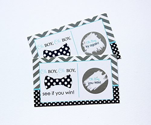 Bow Tie Scratch Off Game Set of 28 Little Man Activity Cards for Baby Shower Navy & Grey Chevron