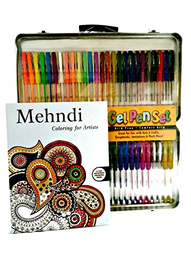 Art Bundle For Adults  Gel Pen Set And Anti Stress Coloring Book