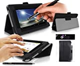 TESCO HUDL Tablet Case - BLACK Case / Cover / Skin with Built-In PropUp Stand ( Dual Angle for Viewing & Typing Positions ) - designed by G-HUB® exclusively for Tesco Hudl 7 inch Tablet ( Tesco's first ever 7