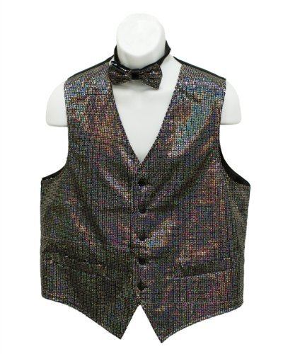 Fine Brand Shop Men's Silver Color Sequin Suit Vest with Bow tie Set - XXX-Large