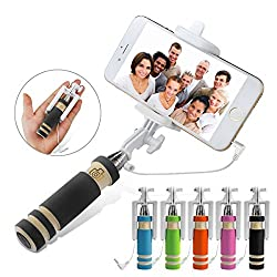 Foldable Aux Selfie stick,Pocket-Size Selfie stick portable extendable foldable Self-Portrait handheld monopod with adjustable phone holder and cable easy control for iPhone 6 Plus 6 5s 5c 5 Samsung Galaxy S5 S4 Note 4 Note 3 Blackberry HTC Sony LG IOS Android.