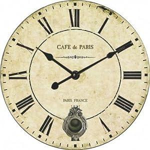 belle maison horloge murale vintage caf de paris avec pendule cr me l 39 ancienne 58 cm amazon. Black Bedroom Furniture Sets. Home Design Ideas