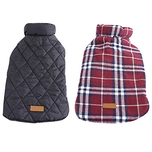Kuoser Cozy Waterproof Windproof Reversible British style Plaid Dog Vest Winter Coat Warm Dog Apparel for Cold Weather Dog Jacket for Small Medium Large dogs with Furry Collar (XS - 3XL ),Red XL (Winter Jacket For Bulldog compare prices)