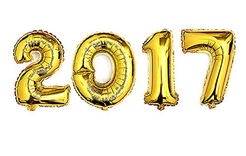 """Gold """"2017"""" Mirror Mylar balloons for New Year Eve party decorations 40″"""