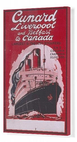 Canvas Print Of Poster Advertising Cunard From The Uk To Canada front-616458
