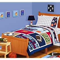 Sports Boys Baseball Basketball Football Full Comforter Set
