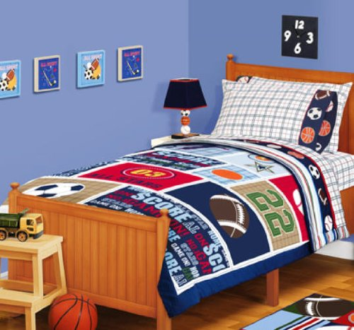 Sports Boys Baseball, Basketball, Football Twin Comforter Set (4 Piece Bed In A Bag) front-4946