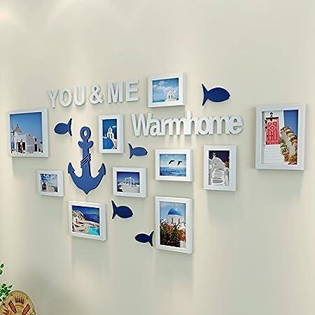 Marco de fotos HJKY moderno sencillo conjunto de auto-adhesivo 3D tridimensional pegatinas de pared ,para comedor, dormitorio foto Decoración de pared,10Y BLANCO
