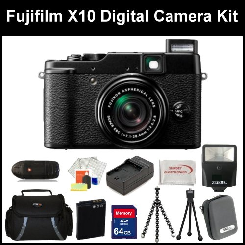 Fujifilm X10 Digital Camera Kit Includes: Fujifilm X-10 Camera, Extended Life Battery + Charger, 64GB Memory Card + Card Reader, Flash, 2 Tripods, Cleaning Kit, LCD Screen Protectors, SSE Microfiber Cleaning Cloth, Hard Case and Soft Carrying Case