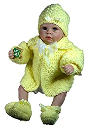 Baby Sweater Set, Size 0-6 Months (Yellow)