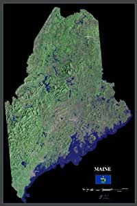 "Maine from space satellite map / print poster / photo: 24"" x 36"" Glossy"