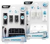 für Zocker: Wii – Dual Charger Ladestation inkl. Akkus und Batteriefachdeckel (farblich sortiert weiß/schwarz, keine Farbwahl möglich)